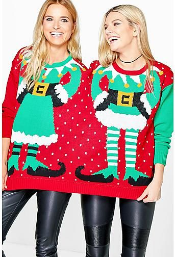 Lauren Mr Mrs Elf 2 Person Christmas Jumper Christmas