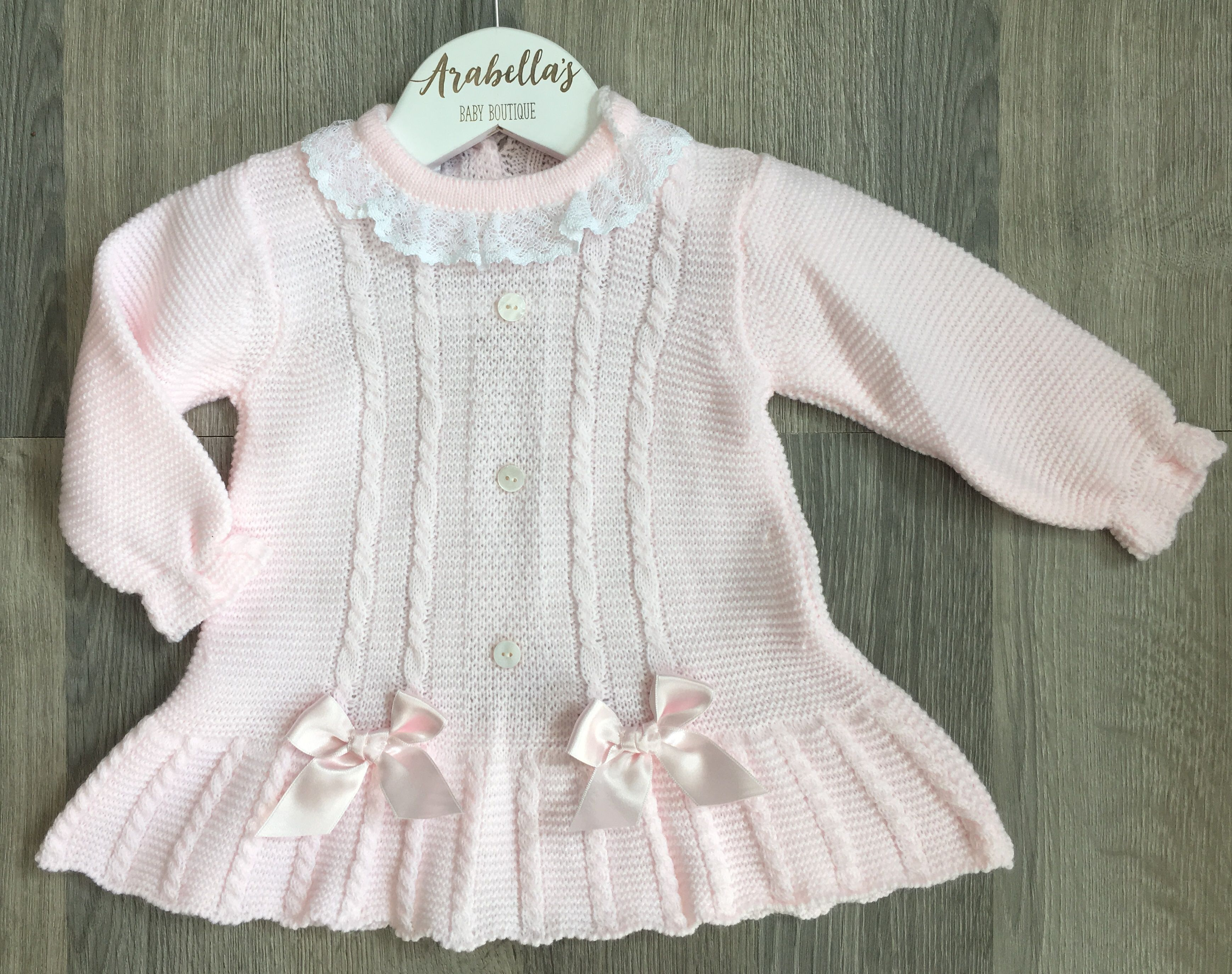 858aeede6 VB by Juliana Baby pink knitted dress with satin bows and lace ...