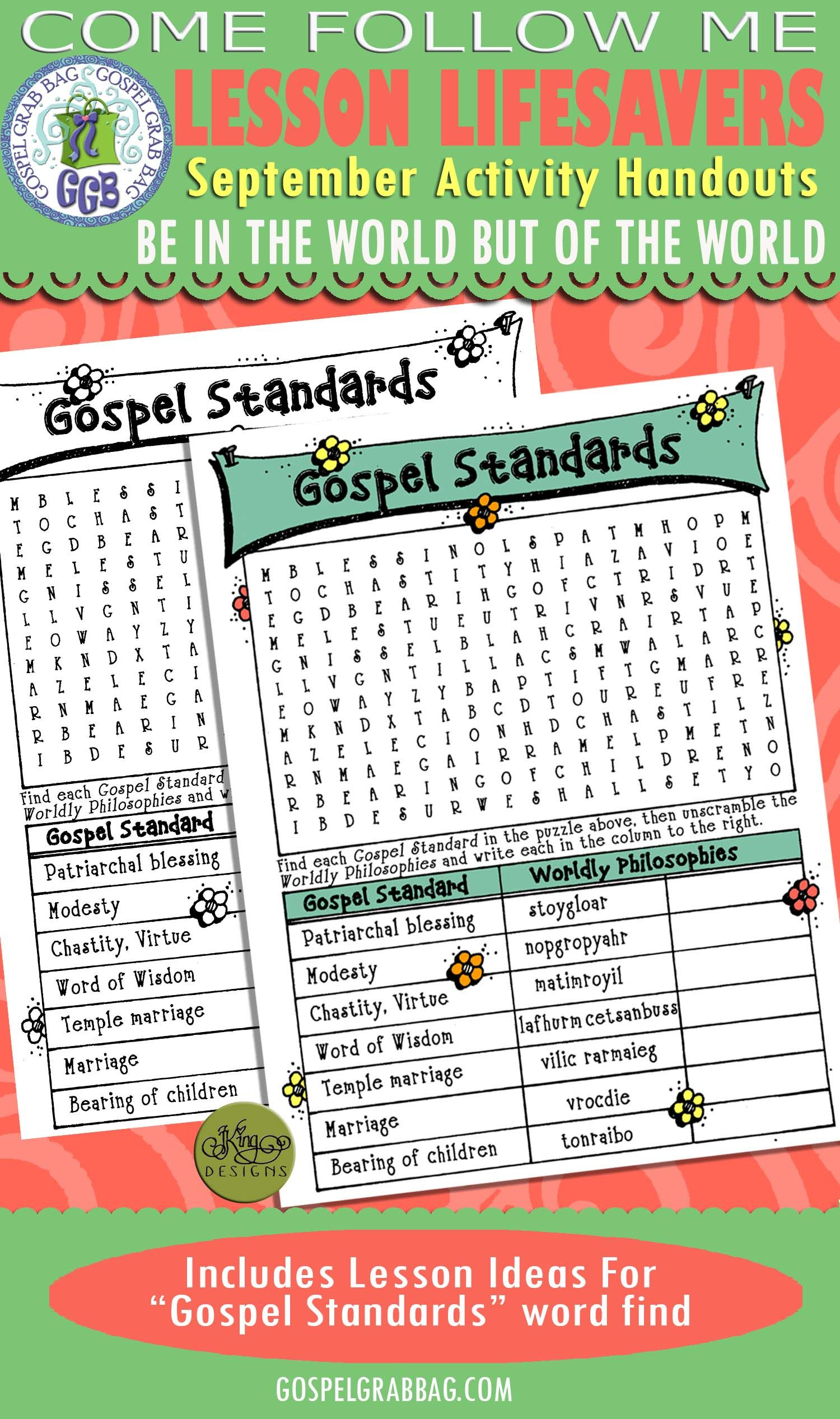 gospel standards wordfind pinterest young women activities and