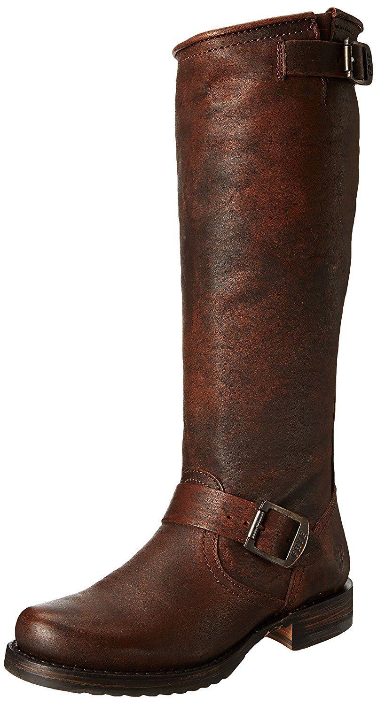 boots: Frye Women's Veronica Slouch Boot,Dark Brown Calf Shine Vintage M US