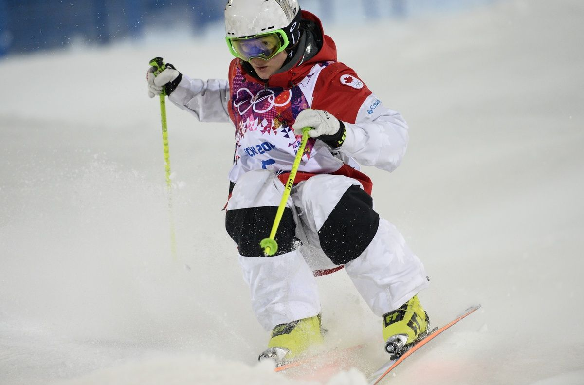 Canada's Maxime Dufour-Lapointe competes during the Women's Freestyle Skiing Moguls finals at the Rosa Khutor Extreme Park during the Sochi Winter Olympics on February 8, 2014. AFP PHOTO / FRANCK FIFE (Photo credit should read FRANCK FIFE/AFP/Getty Images)