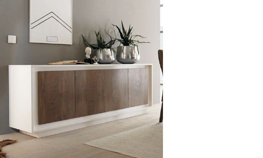 buffet blanc laqu et bois fonc moderne tacoma buffet salon pinterest. Black Bedroom Furniture Sets. Home Design Ideas