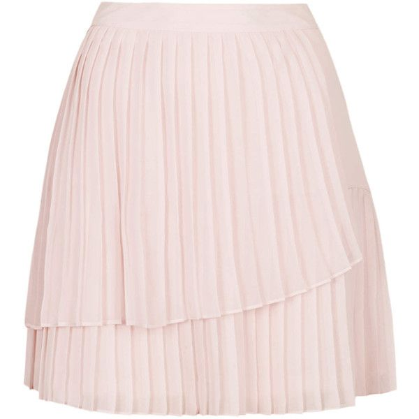 TOPSHOP Hiych Pleat Skirt ($20) ❤ liked on Polyvore featuring skirts, bottoms, topshop, pale pink, pink asymmetrical skirt, asymmetrical skirt, pink skirt, pink pleated skirt and knee length pleated skirt