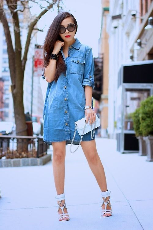 Denim Shirt Dress by Shall We Sasa