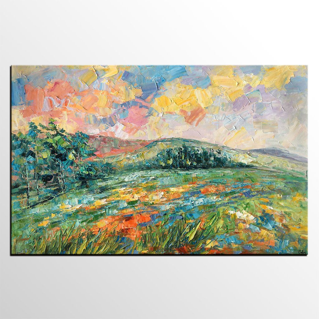 Original Wall Art Mountain Landscape Painting Large Art Canvas Art Canvas Painting Painting With Images Mountain Landscape Painting Hand Painting Art Original Wall Art