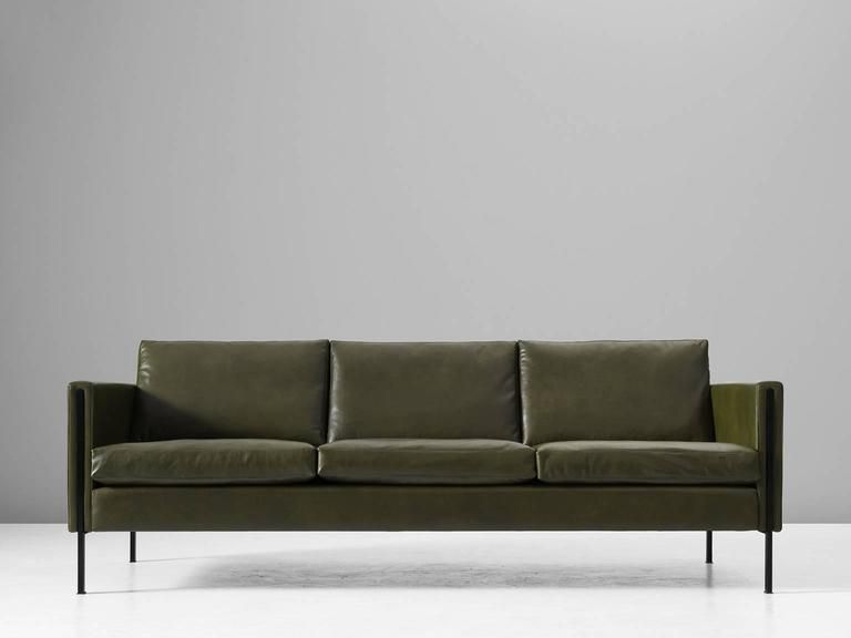 Pierre paulin reupholstered 442 sofa in green leather 2 pierre