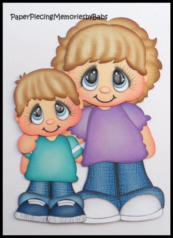 Premade Paper Pieced Mom and Son for Scrapbook Pages-by Babs