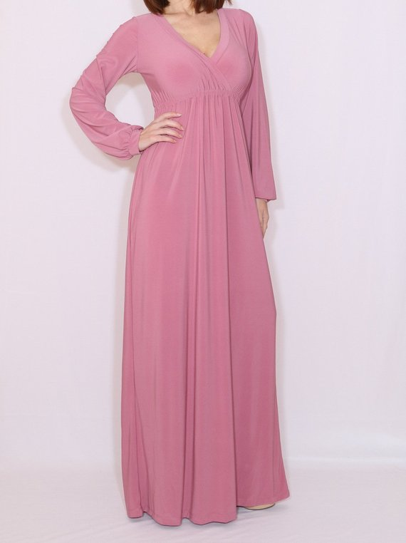 Bridesmaid dress with sleeves Women maxi dress Dusty rose maxi dress Long  sleeve dress in Mauve fbc0e06484