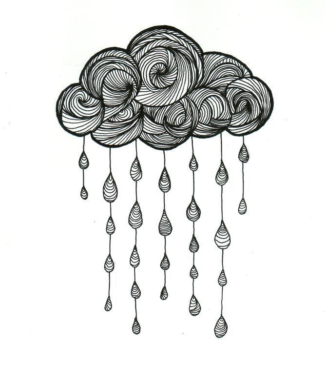 Wolke – Zeichnung, 21×29 cm © 2015 von Valentine Fasquel – Papier, Zeichnung, Tätowierung, Linienführung, Wolke, Regen – Art
