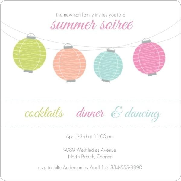 Colorful Lanterns Summer Soiree Party Invite Summer Party - Ideas - fresh invitation wording for trunk party