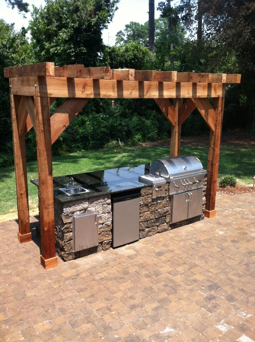 small outdoor kitchen pergola with modern style of kitchen