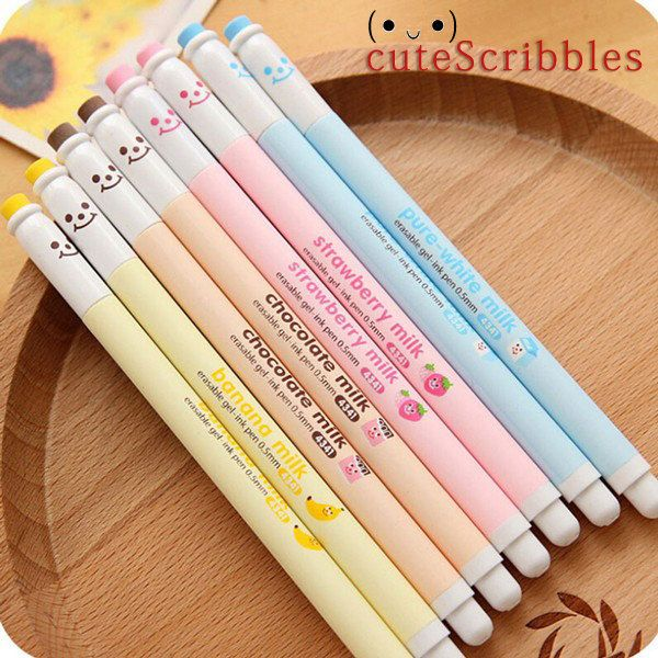 Cute Smiley Erasable Black Gel Ink Pens Kawaii Stationery Perfect For Writing Note Taking Drawing Signing Stationery Colle Erasable Gel Pens Gel Pens Cute Pens