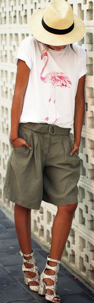 Green Army Oversized Cargo Shorts by Sincerely Jules
