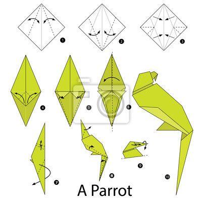Schritt für schritt anleitung, wie man origami ein papagei zu auf Bildern von myloview. Von bester Qualität fototapeten, , bilder, poster, sticker. Möchten Sie Ihr Zuhause dekorieren? Nur mit myloview!