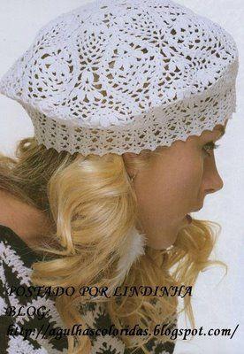 with diagram Receitas de Crochet  Boina branca  2e79126fad5
