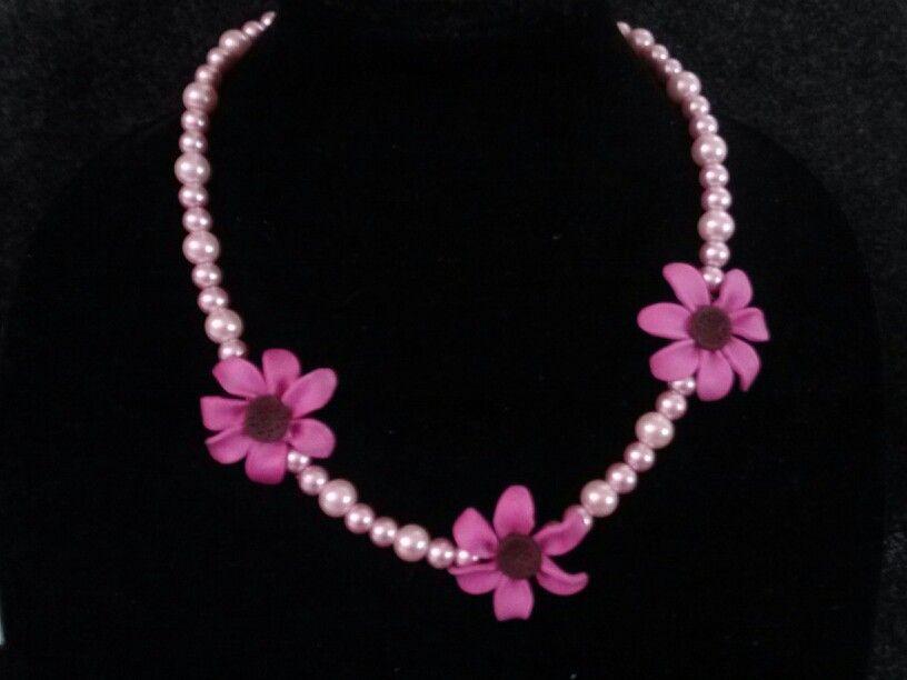 Pink flower polymer clay