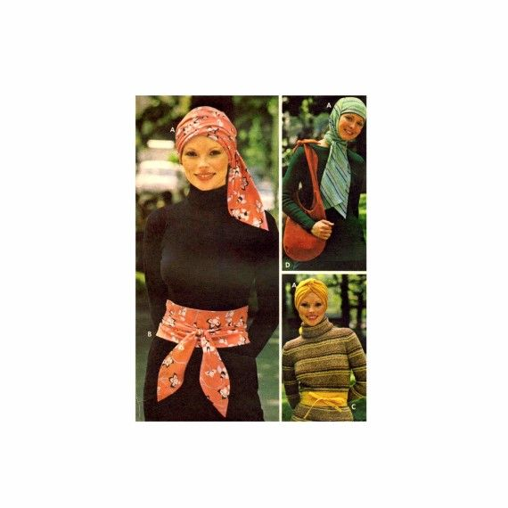 Misses Turban Bag Obi Sashes Butterick 3967 Vintage Sewing Pattern