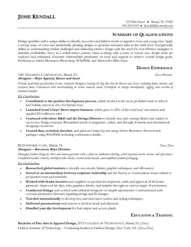 Fashion Resume Objective Sample