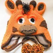 Giraffe Earflap Hat Crochet - via @Craftsy