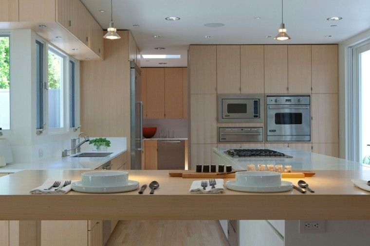 Barras de cocina madera clara casa pinterest barras for Cocinas claras modernas