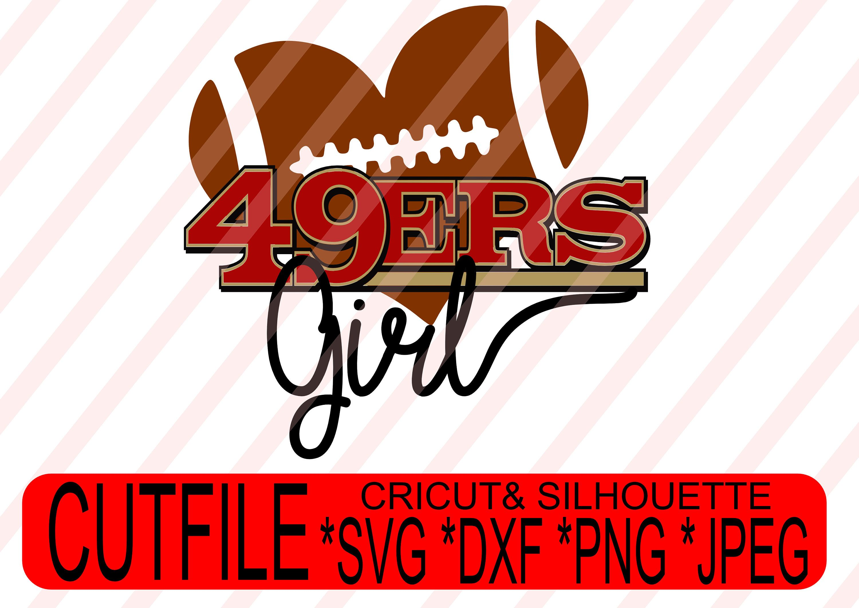 49ers Girl heart shaped Football Clipart DXF SVG Instant