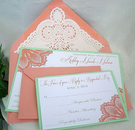 Coral n Mint Green Wedding Invitation w Doily Lace Envelope Shabby