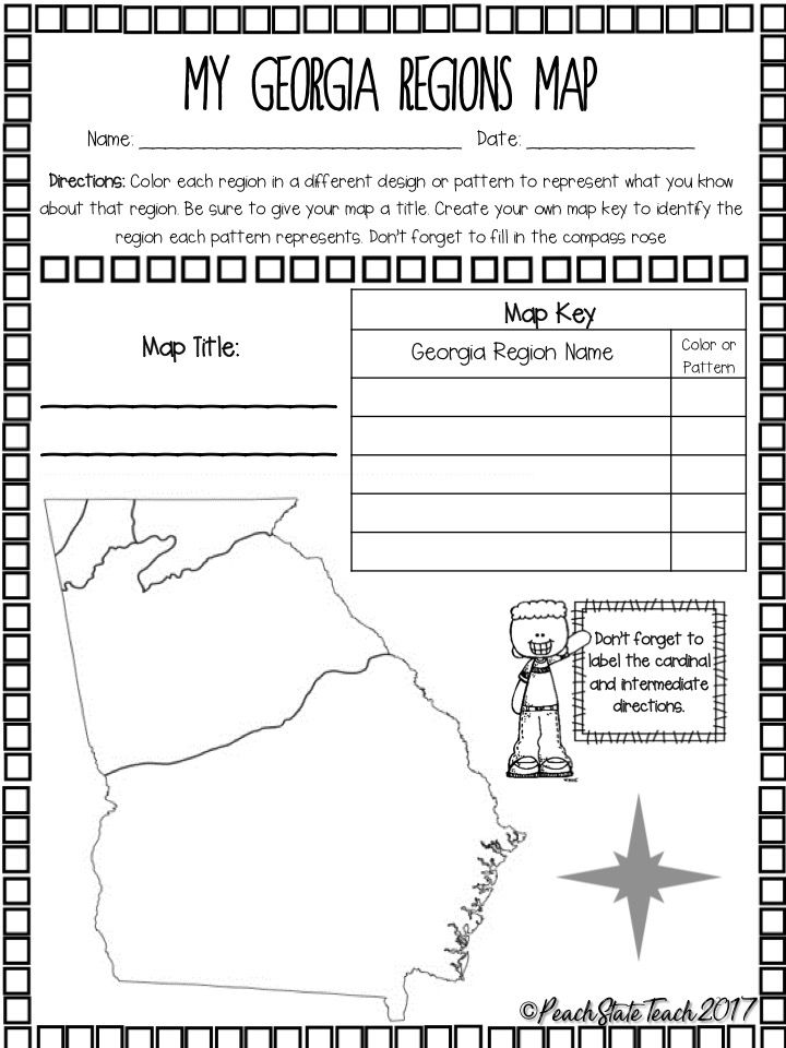 Free Ga Regions Map Activity And Questions Map Skills Georgia Regions Map Skills Worksheets
