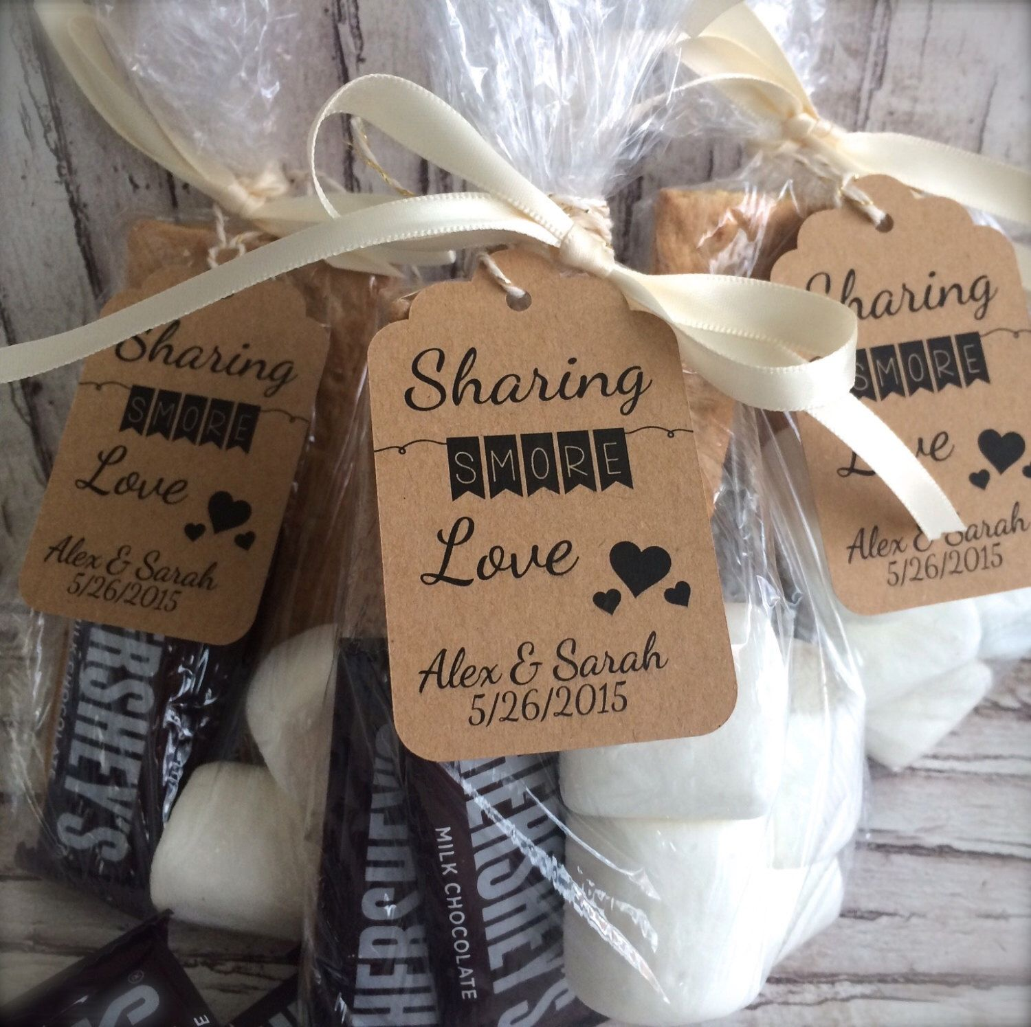 bulk sharing s more love personalized wedding favor tags for a