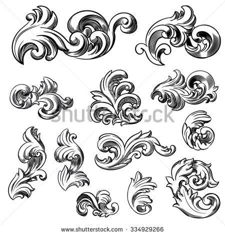 Set Of Vector Vintage Baroque Engraving Floral Scroll