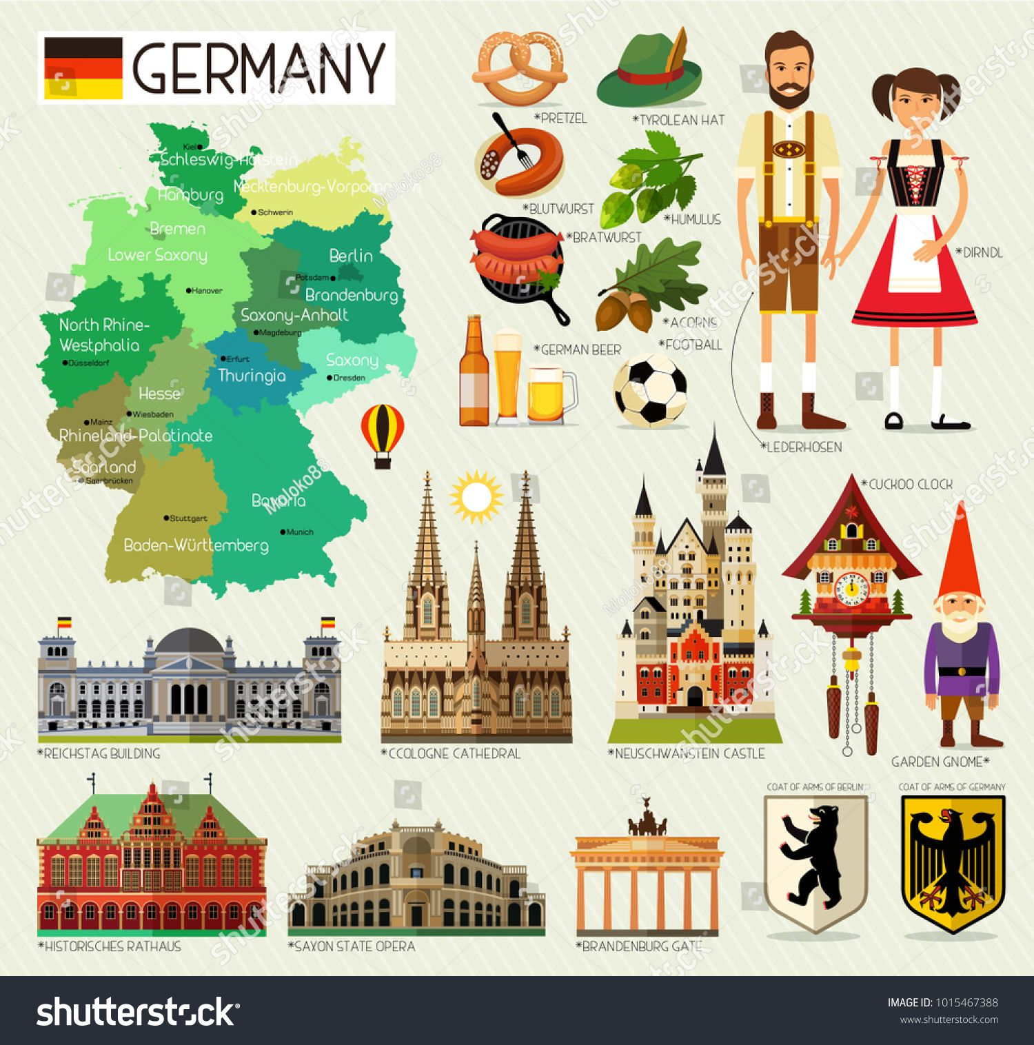 Map Of Germany And Travel Icons Germany Travel Map Vector