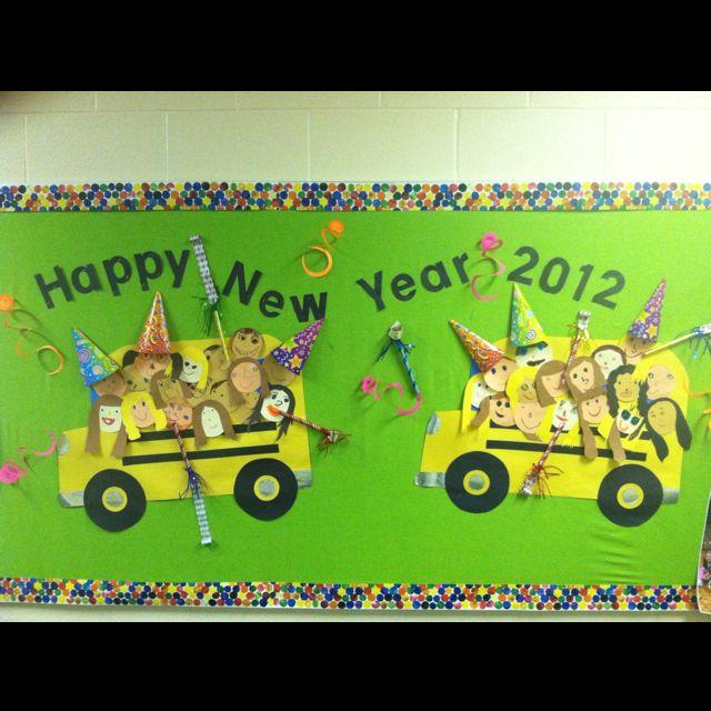 happy new year bus | Preschool bulletin boards, Daycare ...