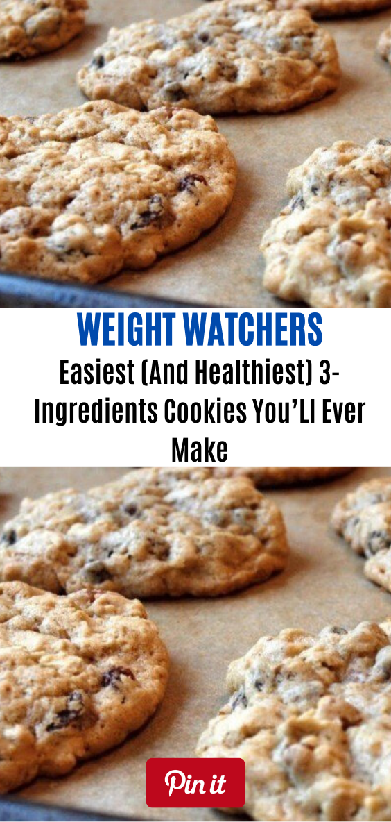 Easiest (And Healthiest) 3-Ingredients Cookies You'Ll Ever Make // #weightwatchersrecipes  #smartpointsrecipes #WeightWatchers #weight_watchers #Healthy #Skinny_food #recipes #smartpoints #weightwatchersmeals #cookies
