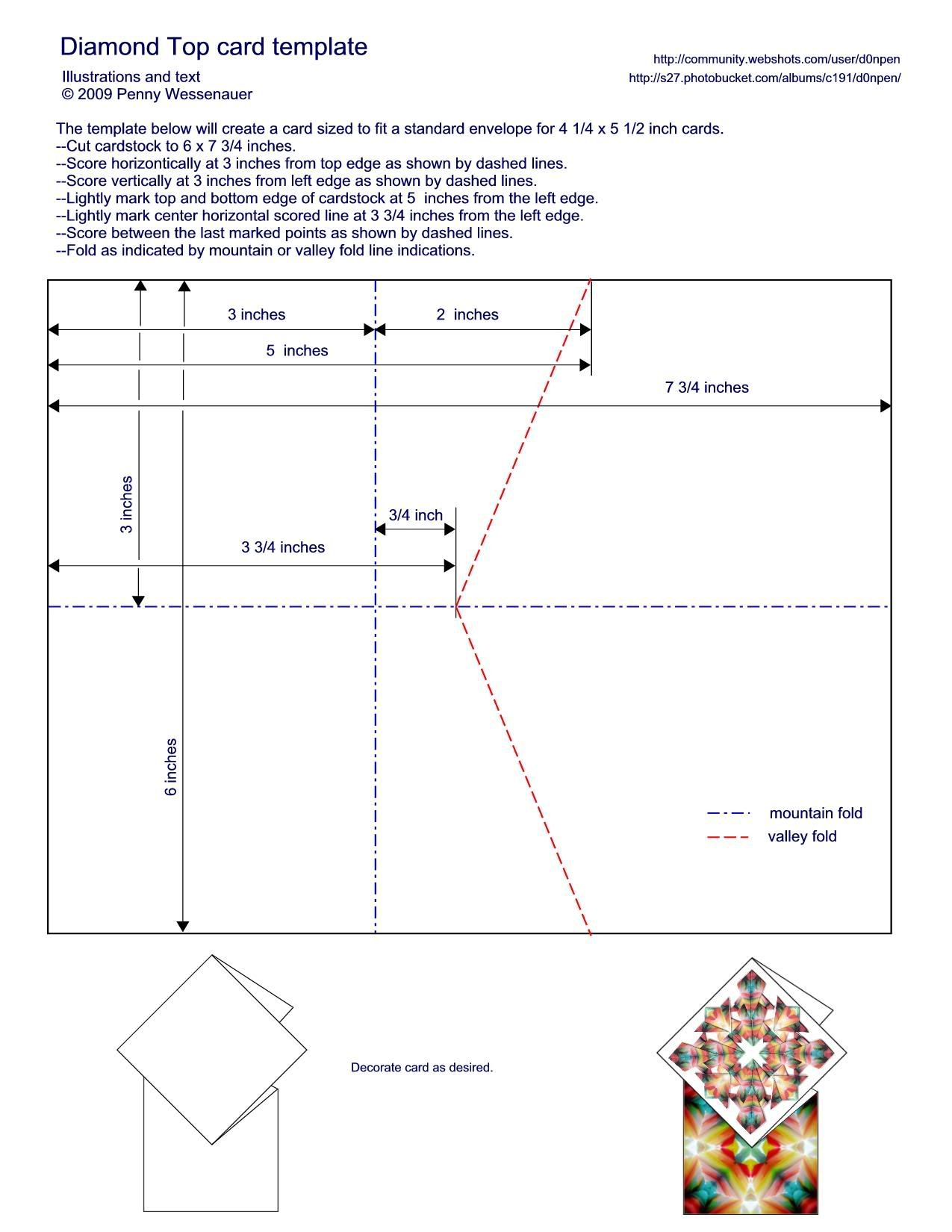 Diamond Topped Card Template To Fit A Standard A2 Envelope 4 25 X5 5