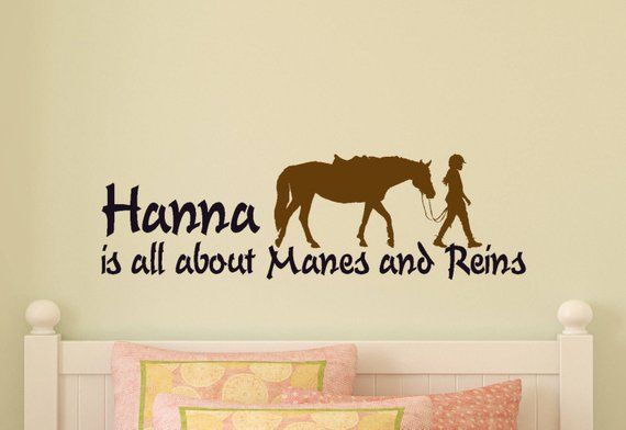horse decal, horse wall sticker, girls personalized, horse quote