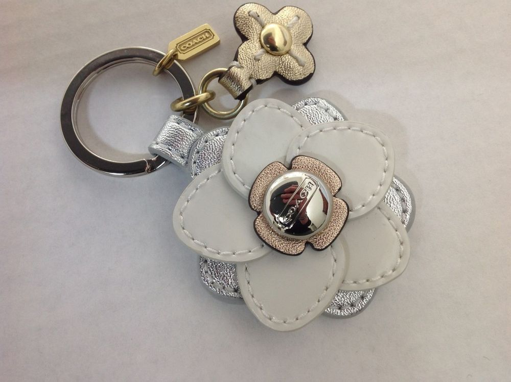 Coach Key Chain Floral Applique Flower Stacked Leather Ring Fob