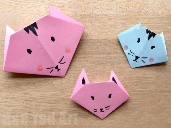 Easy Kids Origami Cat Tutorial | Origami cat, Origami easy, Kids ... | 450x600