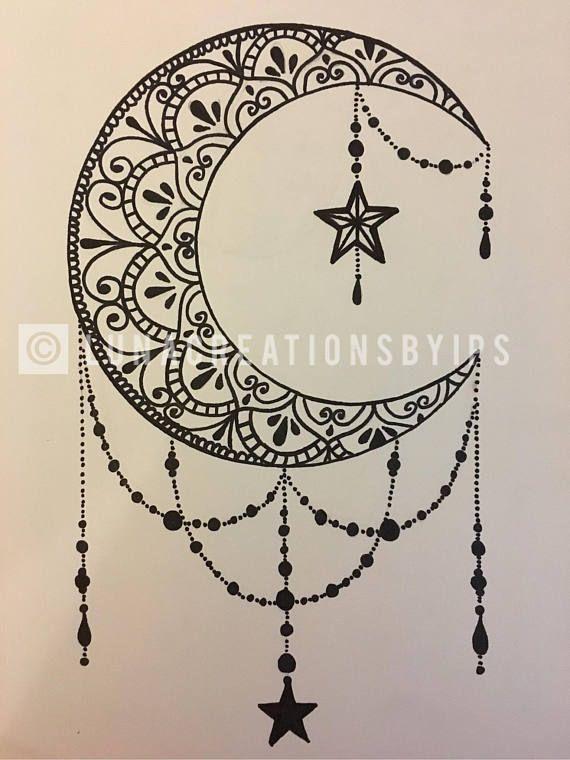 Photo of Mandala de lune original fait main en toile noire sur blanc 18X24 …