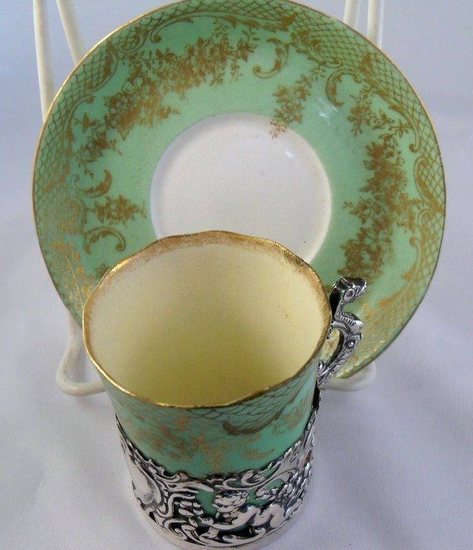 Green English Staffordshire Demitasse Cup in Ornate Sterling Holder  So elegant