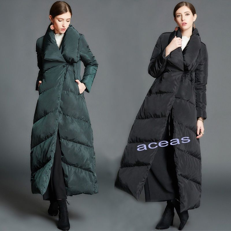 New Luxury Women's Full Length Duck Down Coats Maxi Overcoat Long ...