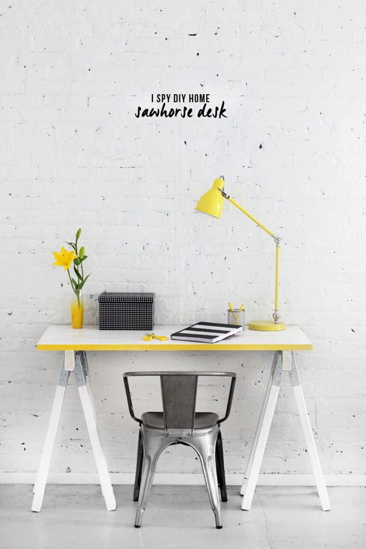 This yellow desk and table lamp are the perfect pop of color for ...