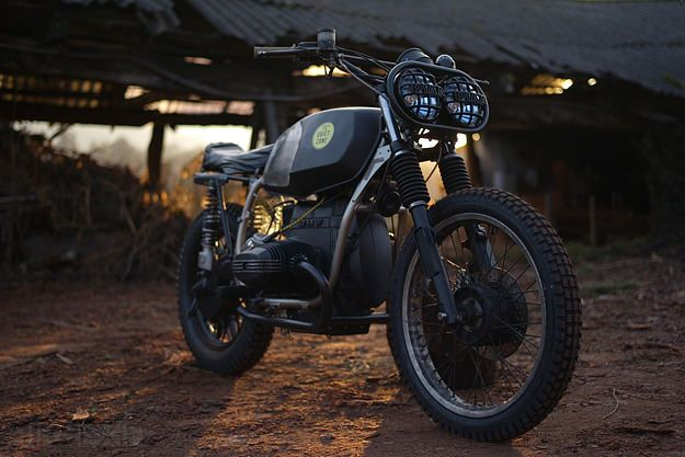 """Called 'The Gonzo', this is a heavily customized 1976 R45 that builder David Borras describes as """"terribly underpowered, but indestructible""""."""