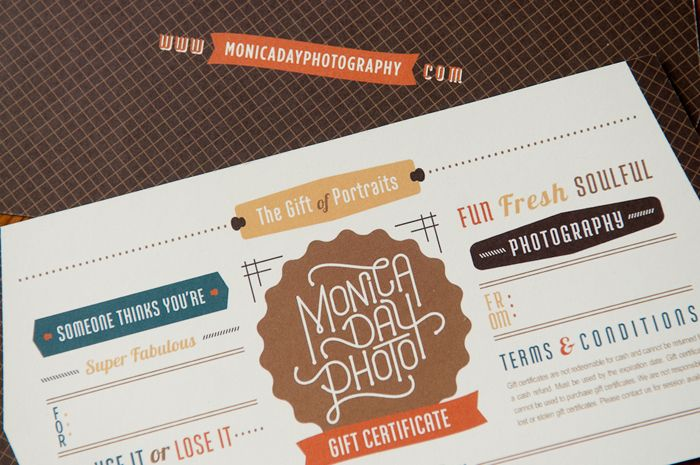 Monica Day Photography U2022 Funky Gift Certificate Design   Outrageously  Fabulous Branding And Design By Getbraizen