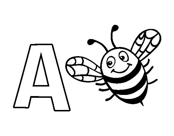 Dibujo Del Abecedario Letra A Para Colorear Abecedario