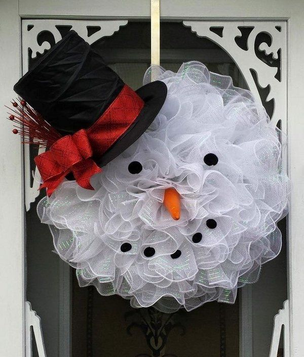Snowman Wreath Ideas Deco Mesh Snowman Wreath Easy Diy