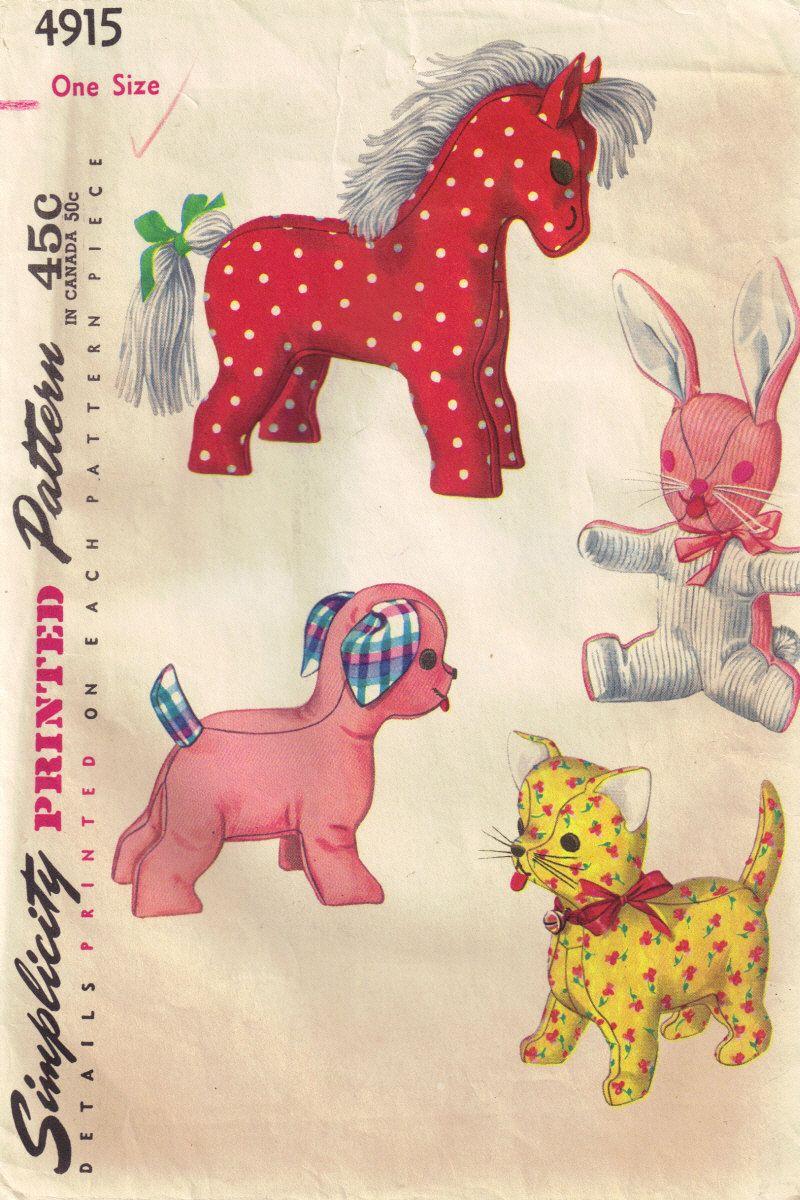 Vintage 1950s simplicity 4915 stuffed animal horse dog bunny vintage 1950s simplicity 4915 stuffed animal horse dog bunny rabbit cat sewing pattern jeuxipadfo Choice Image