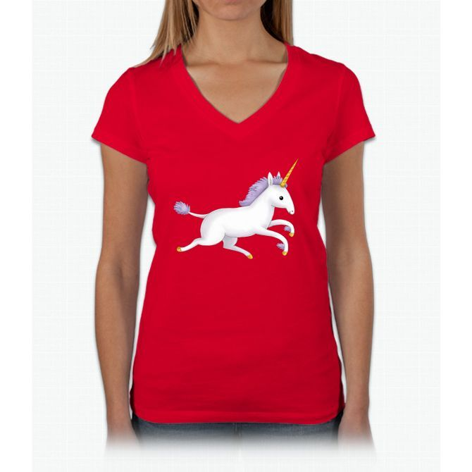 Unicorn Womens V-Neck T-Shirt