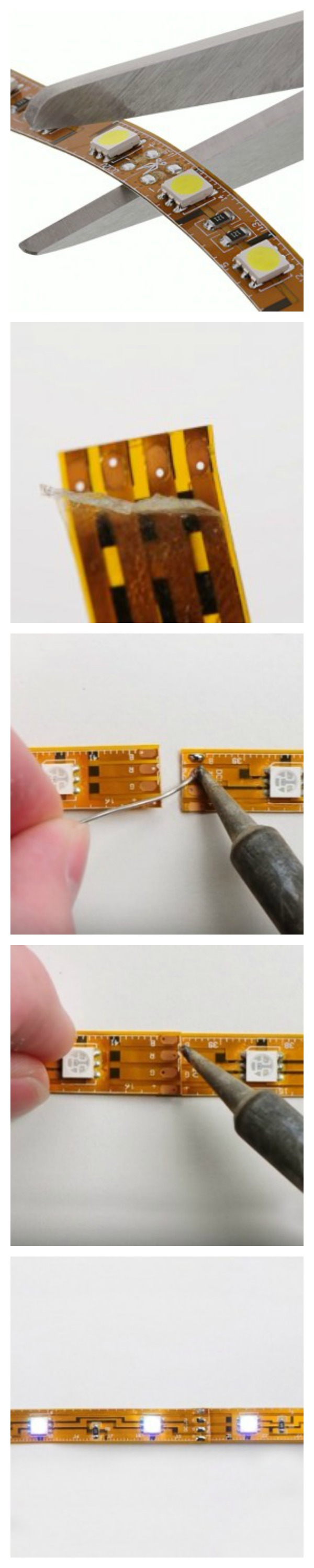 How to soldering led strip lights regardless of bends twists how to soldering led strip lights regardless of bends twists or turns led light strips can be modified to fit any application mozeypictures Image collections
