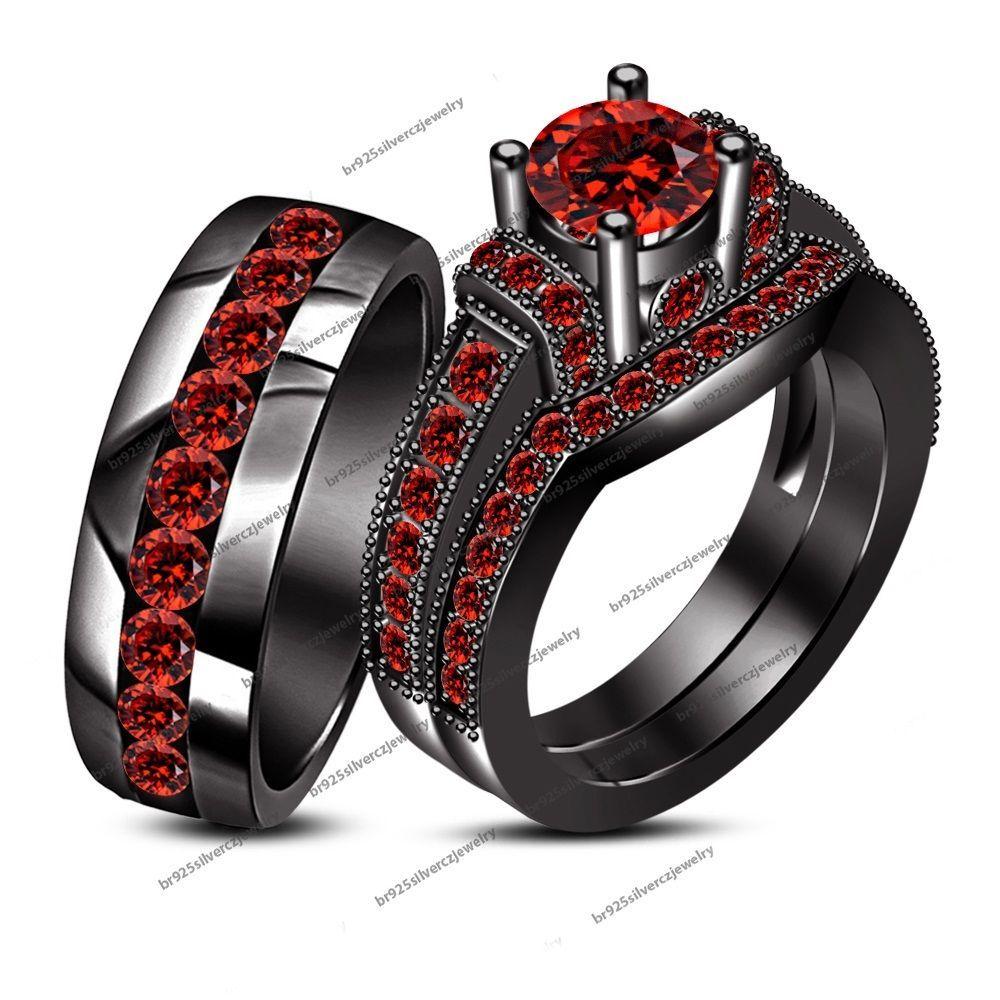 2 60 Ct Red Garnet 10k Black Gold Finish His Hers Matching Wedding Trio Ring Set Silver Wedding Ring Trio Sets Black Gold Engagement Rings Black Wedding Rings