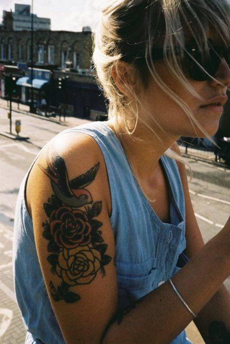 #flower #bird #tattoo