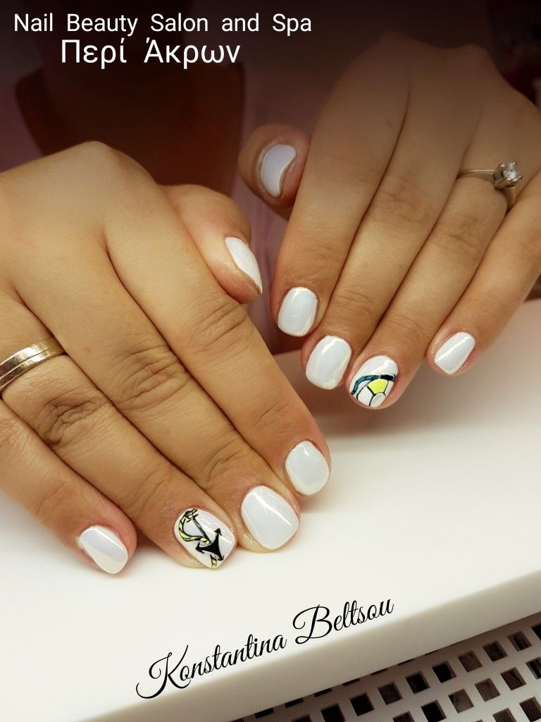 Natural Nails With Gel Short Square Oval Shape Nails And Art Art Gel Painting Summer Details Handpainting White Mirror Natural Nails Nails Diy Acrylic Nails